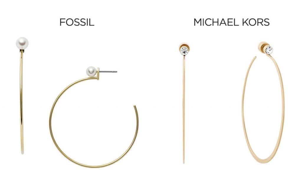 Kruhové náušnice Fossil a Michael Kors