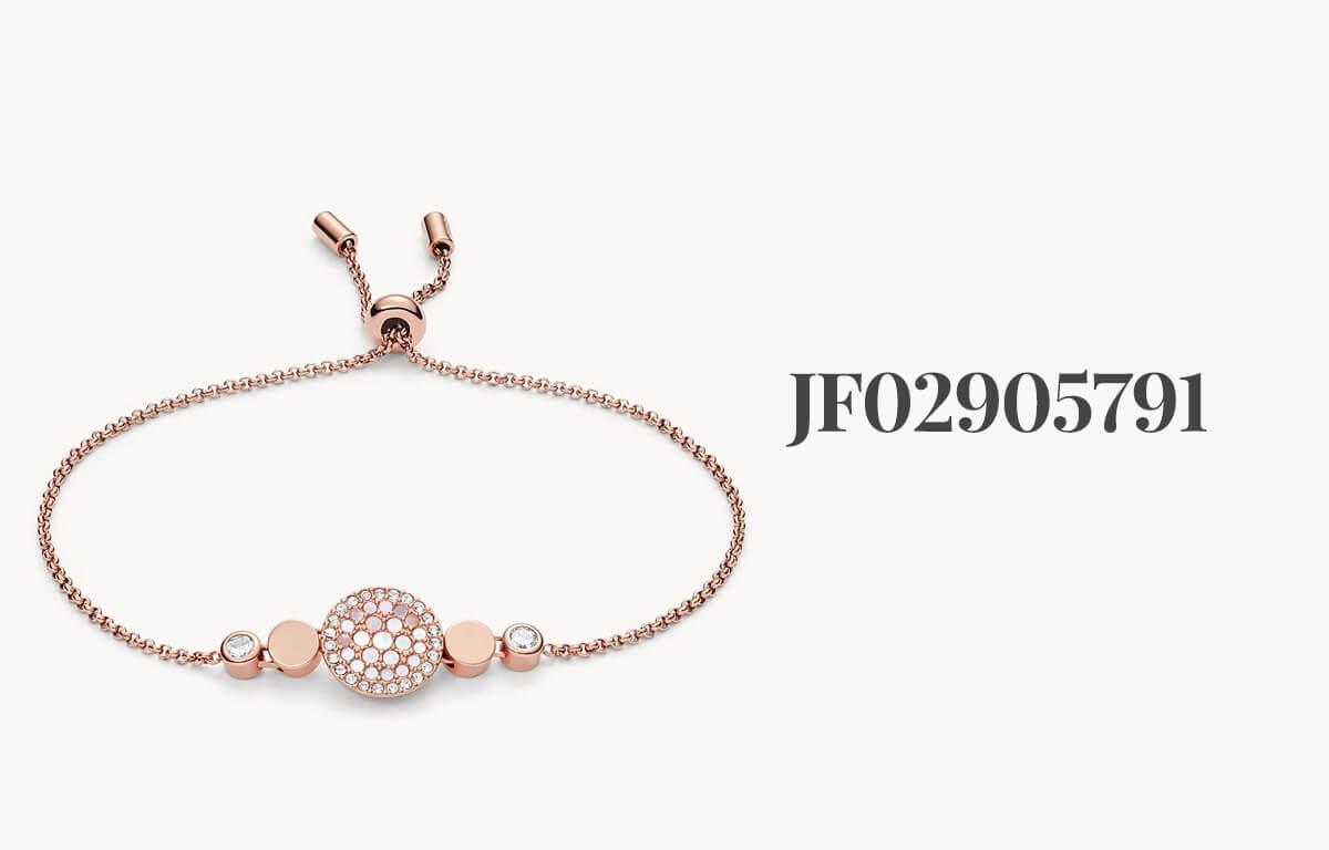 Dámske šperky Fossil - ružovo zlatý náramok s kamienkami