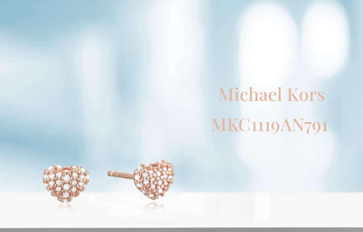 Malé pozlátené náušnice Michael Kors v tvare srdiečka