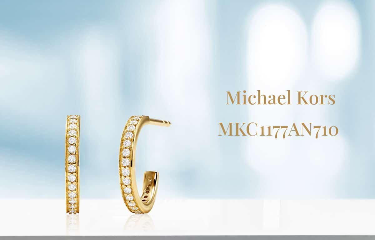 Pozlátené náušnice Michael Kors s okrasnými kamienkami